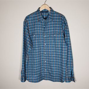 North Face Cotton Flannel Plaid Shirt Teal M / L